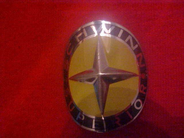Schwinn Superior bicycle head badge nameplate emblem  nos
