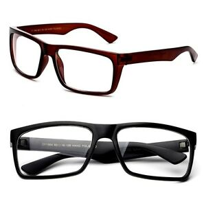 e32c4312fa Image is loading Thick-Rectangular-Frame-Glasses-Simple-Clear-Lens-Temple-