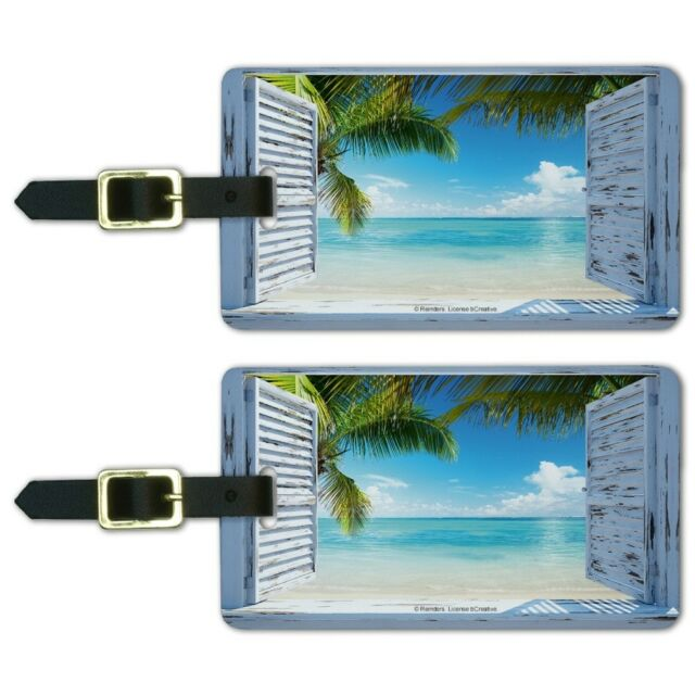 753154b755fc Tropical Beach Vacation Ocean View Luggage ID Tags Carry-On Cards - Set of 2