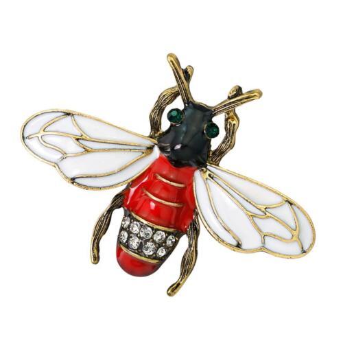 Red Emaille Strass Insekt Brosche Frauen Schmuck Pullover Schal Schal