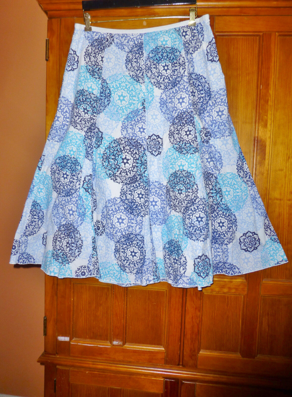 TALBOTS size 16 P XL Printed Medallions Cotton Boho flared dress SKIRT B105