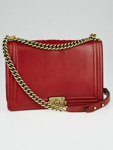 5107d135b85d Image is loading Chanel-Dark-Red-Smooth-Calfskin-Leather-Large-Boy-