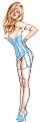 Mini Size Olivia STICKER Decal Blue Pam Pin Up Art OL8B