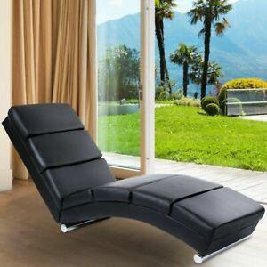 Sdraio Poltrona Relax.Dettagli Su Chaise Longue Poltrona Relax Design Elegante Sdraio In Ecopelle Nera
