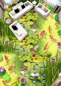 3D Pond fish leaf 3525 Floor WallPaper Murals Wall Print Decal 5D AJ WALLPAPER