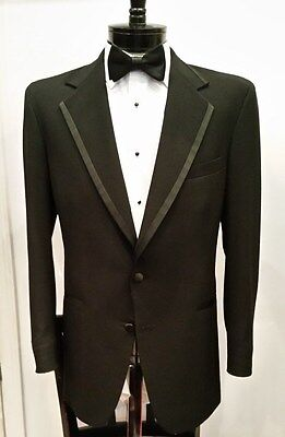 Mens or Boys Black Piped Edge Notch Lapel Tuxedo Jacket (CHAPS 100% Wool, Cheap)