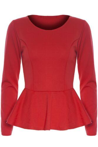 Ladies Stretchy Peplum Frill Womens Plain Long Sleeve Flared Top Mini Dress