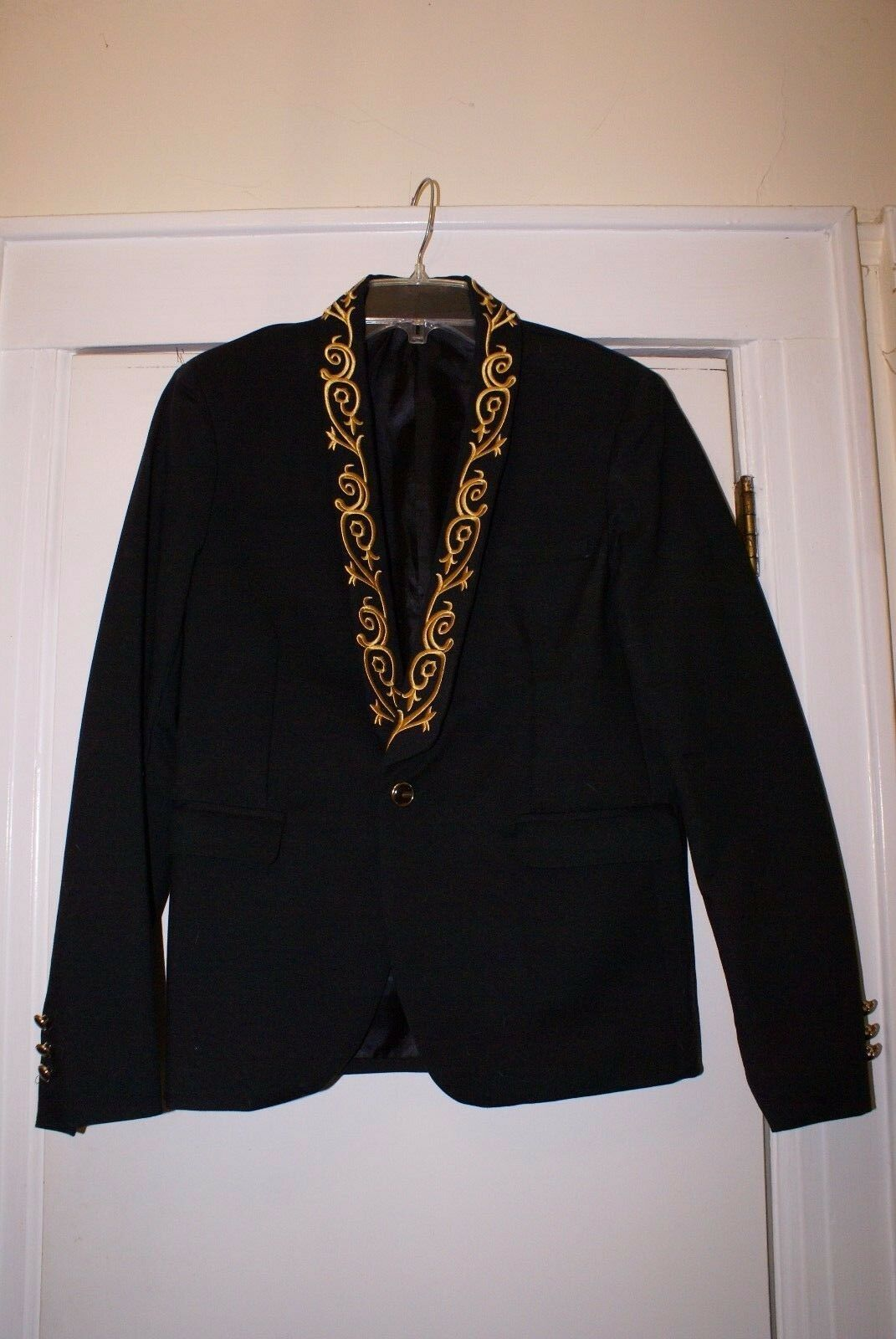golden Embroidery Embroidery Embroidery Embellished Button Fly Lapel Slimming Fashion Design Long Slee fa4b36