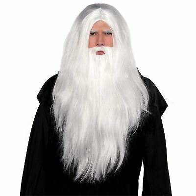 Christmas White Santa Wig Deluxe Fancy Dress Costume Wizard Wig Beard Set