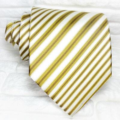 Cravatta Righe Uomo 100% Seta Made In Italy Bianca Marrone Formale Business Essere Famosi Sia A Casa Che All'Estero Per Una Lavorazione Squisita, Un Abile Lavoro A Maglia E Un Design Elegante