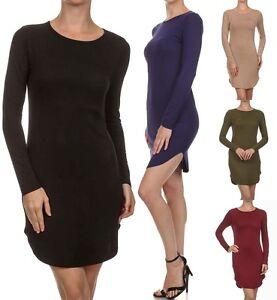 Women-Scoop-Neck-Classic-Hi-Low-Long-Tunic-LONG-Sleeve-Jersey-Top-Shirt-Dress