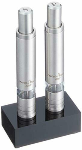 Minosharp Stainless Steel One-Handed Slim Salt Amp Pepper Mills With Tray F//S