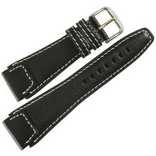 22mm Fluco German Made Mens Black Leather Contrast Stitch Pilot Watch Band Strap