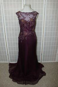 NWT Size 10 Purple Montage by Mon Cheri 113920 sleeveless long formal bead gown