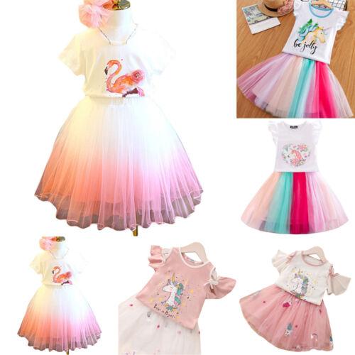 Kid Girl Flamingo Unicorn Round Neck Frill Sleeve Tops Tee Mini Tulle Tutu Skirt