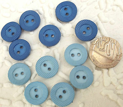 12 vintage round buttons Royal Blue Pale Blue Mixed Ridged rim Curved top 5/8""
