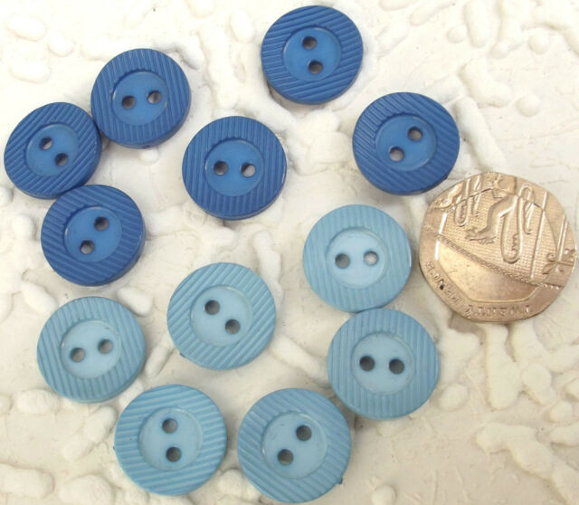 """12 vintage round buttons Royal Blue Pale Blue Mixed Ridged rim Curved top 5/8"""""""