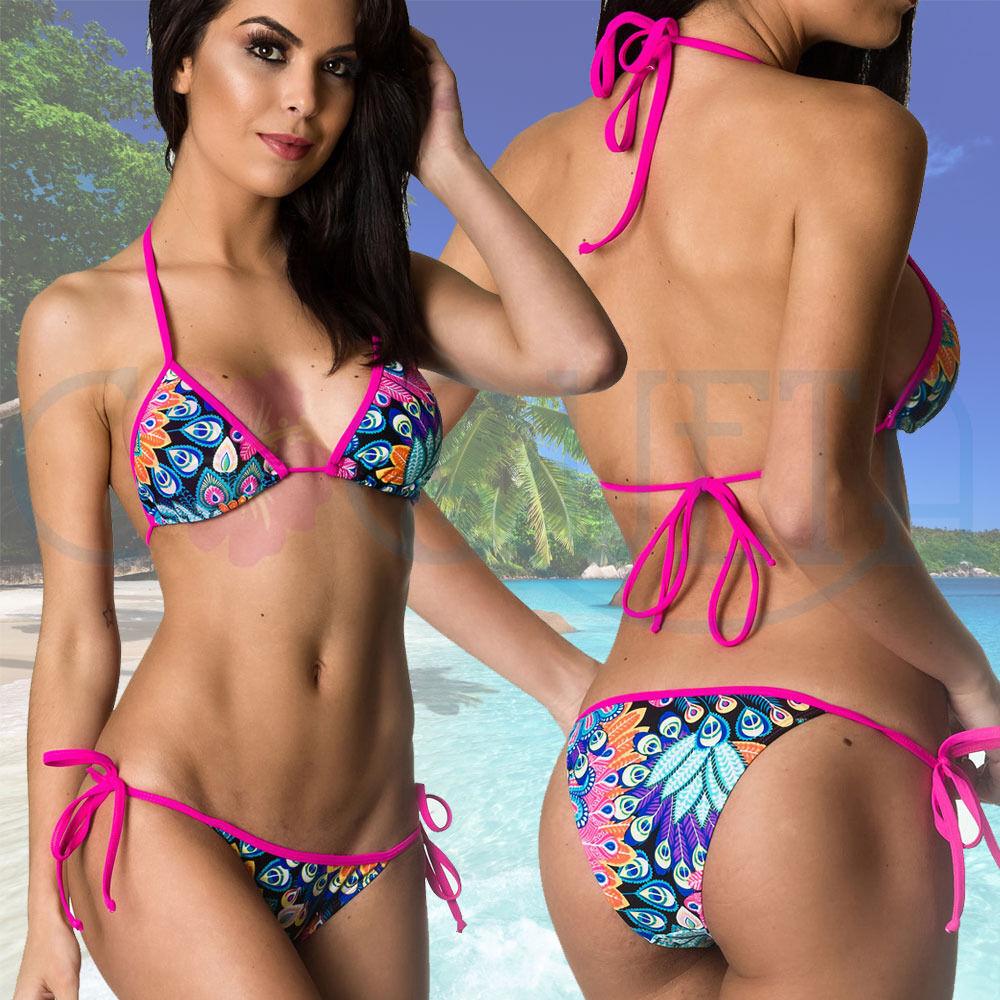 COQUETA Sexy Tie Side Women Brazilian Mini Bikini Swimsuit Two Piece Swimwear