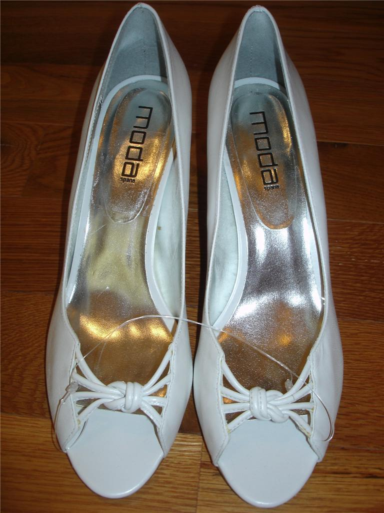 MODA Spana White Open Toe Heels  Shoes Womens 6 1/2  Heels  6.5 M  NEW 383e33