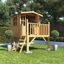 Childrens Wooden Outdoor Playhouse Tower Play Treehouse Kids Wendy Garden  House