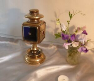 Unusual-19th-Century-French-Brass-Coaching-Lamp-with-Stand-One-Off