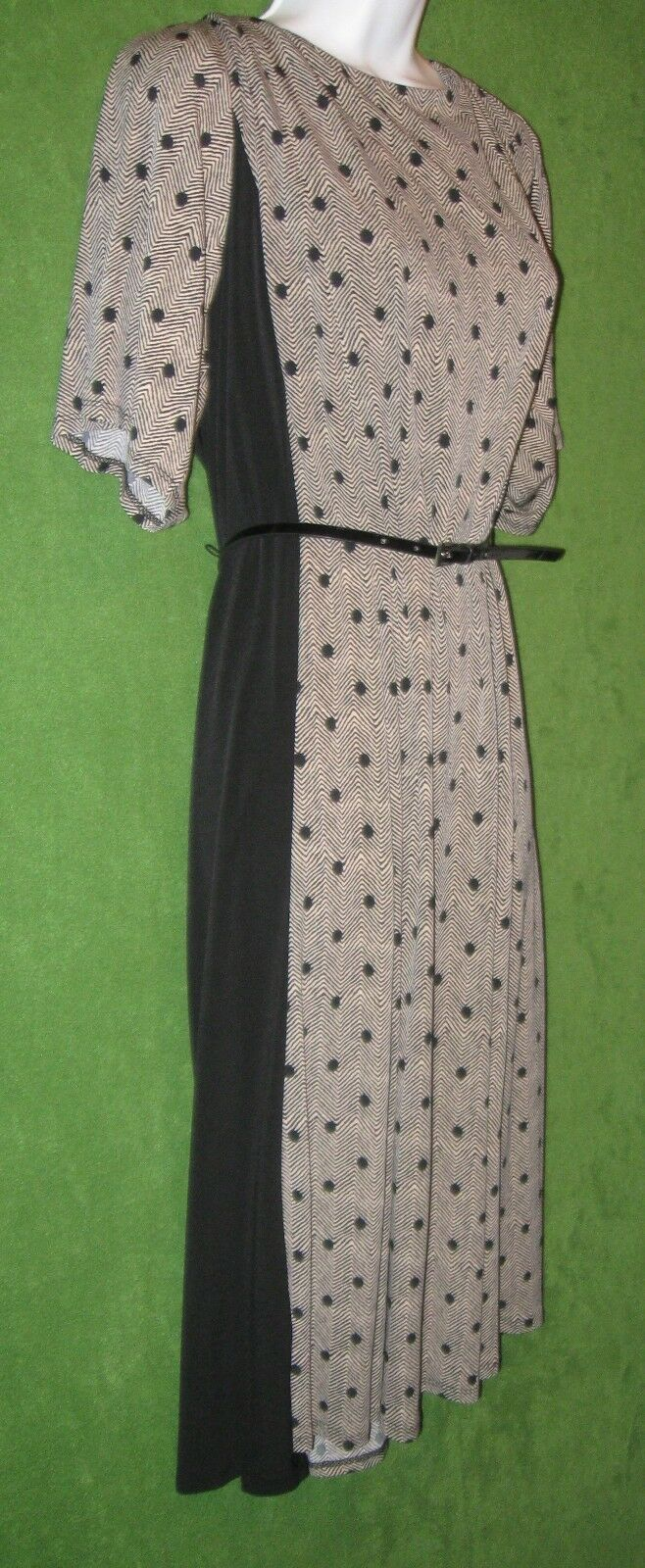 Jessica Howard schwarz Tan Dot Zig Zag Jersey Belt Work Social Dress 24W PLUS