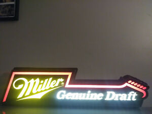 Vintage-Miller-Genuine-Draft-Beer-Guitar-Shaped-Sign-Light-1990-Bar-Man-Cave