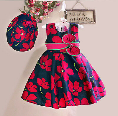 Girls Dress+ Hat Red Flower Print Party Pageant Beach Princess Child Clothes 2-8