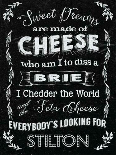 Vintage Style Metal Wall Sign Plaque Cheese Kitchen Decor Novelty Gift Black