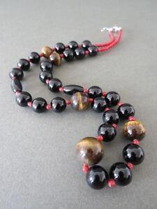 Vintage-Coral-Tiger-Eye-Necklace-Silver-Clasp