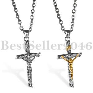 Men-Women-Stainless-Steel-Jesus-Christ-Crucifix-Cross-Pendant-Chain-Necklace-22-034