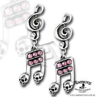 Alchemy Dead Note Earrings Skull Treble Clef Swarovski Crystal Ul17 Gothic Punk