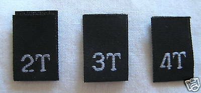 SIZE TAGS 4T 250 pcs LIGHT PINK WOVEN TODDLER CLOTHING LABELS 2T 3T
