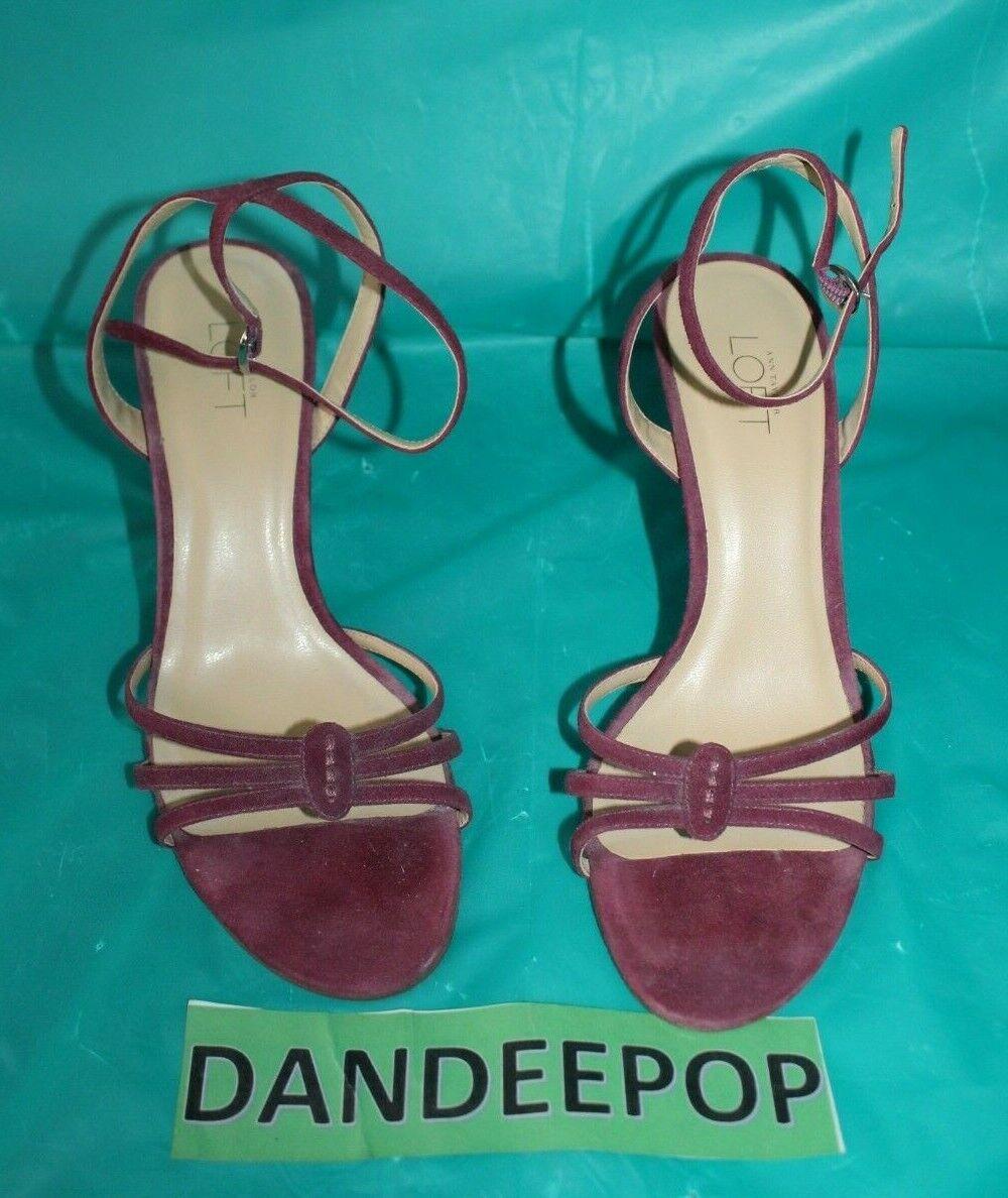 Ann Taylor Loft Purple High Heel Open Toe Ankle Strap Shoes Size Women's 6M