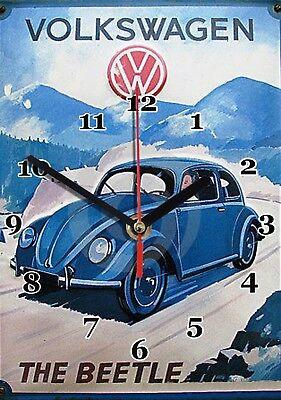 Combi Publicité Volkswagen Cox Beetle en Horloge murale -10hm Vintage