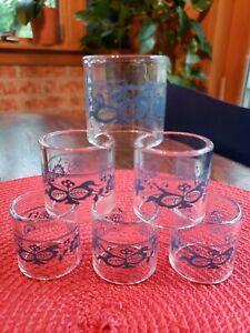 Pyrex Corelle Blue Onion Old Town Pattern Glass Napkin Rings Set of 6