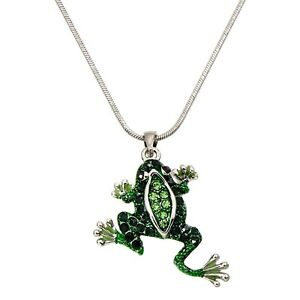 pendant frog green necklace pave