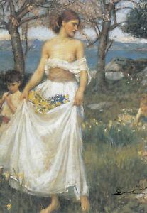 Postkarte: Waterhouse - A Song of Springtime