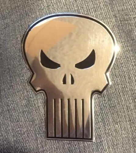 THE PUNISHER Heavy Duty Metal STICKER Marvel chrome silver emblem decal smvl-8-m