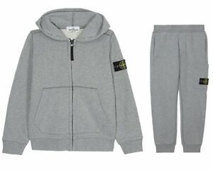 839603860 Details about Stone Island Junior 691660640 V1064 Hooded Boys Tracksuit  Grey Jogsuit