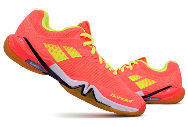 d4fca2490b7 Babolat Women Badminton Shoes Shadow Tour Indoor Court Sport Shoe Pink  Yellow