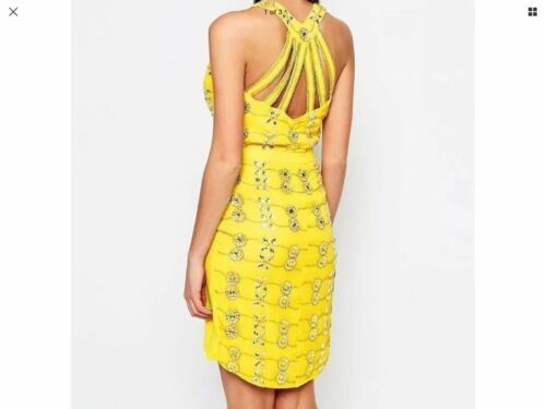 Virgos Lounge Yellow Stone Embellished Party Bridesmaid Cocktail Dress 8-10