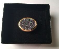 HSN-Gold Sterling Silver .925 Oval Multi-Color Druzy Quartz Stone Ring Size 6.25