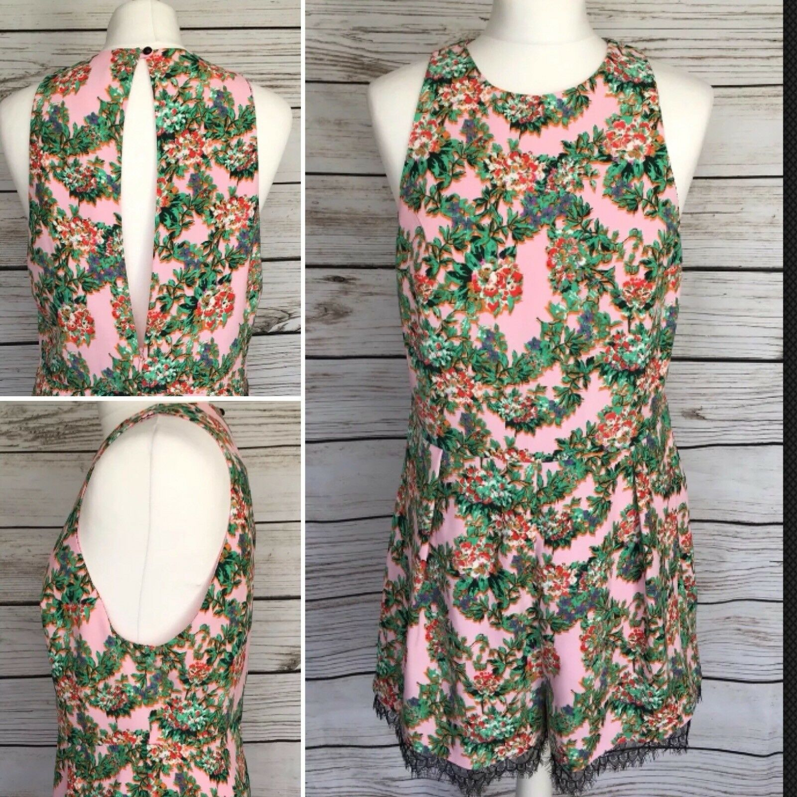 Topshop Pink Multi Floral Print Romper Playsuit Size 14 UK Brand New With Tags
