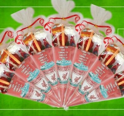 football sweet cones party bag 30 x PERSONALISED PRE FILLED LIVERPOOL FC