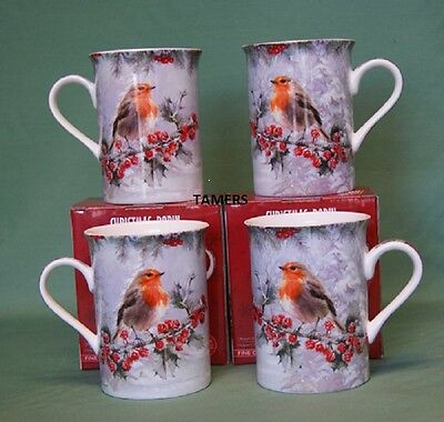 Set Of 4 Fine China Christmas Robin Bird Mugs Leonardo Collection LP92629