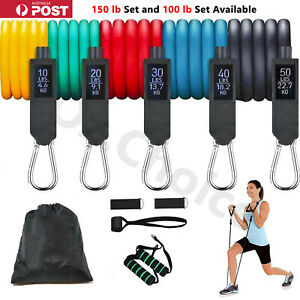 11PC Quality Resistance Bands Elastic Tubes Yoga Fitness Home Gym 150lb or 100lb