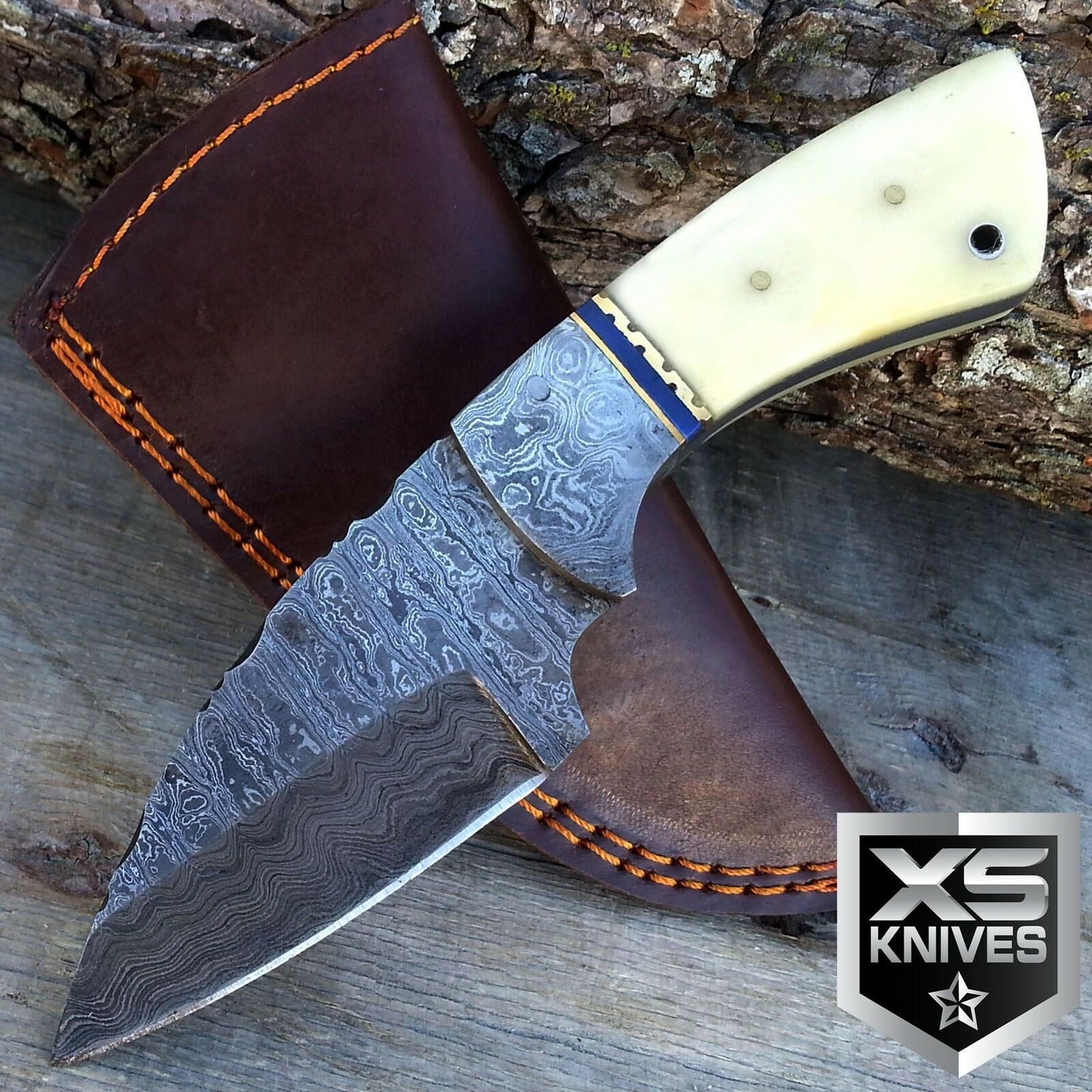7 Quot Fixed Blade Full Tang Hunting Real Damascus Steel