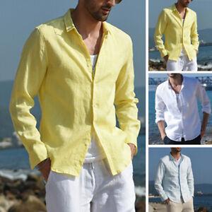 Men-039-s-Linen-Collar-Shirt-Long-Sleeve-Cool-Loose-Casual-Shirts-V-Neck-Tops-Blouse