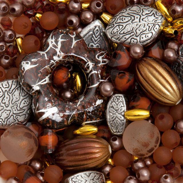 300 perlen Bronze und Braun Mix Schmuck Machen Bastelpaket Bastelset Basteln